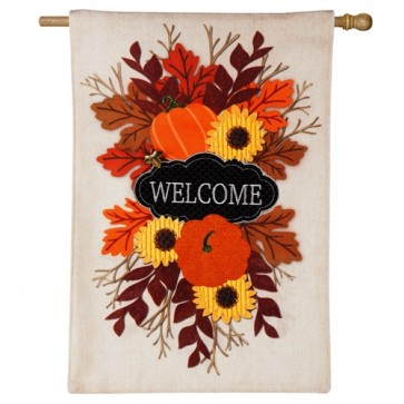 Fall Floral Welcome Burlap House Flag