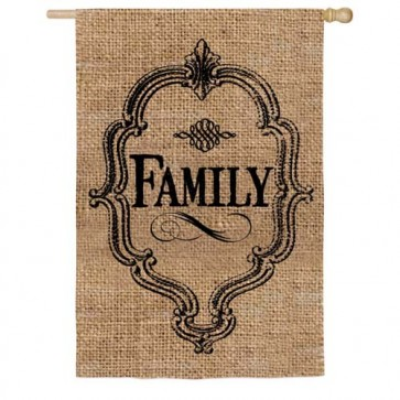 Family Burlap House Flag