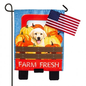 Farm Fresh Puppy Fall Garden Flag