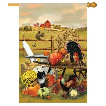 Farm Harvest Fall House Flag