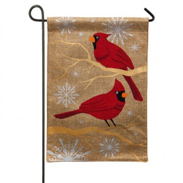Feathers and Snow Burlap Garden Flag