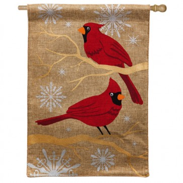 Feathers and Snow Burlap House Flag