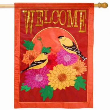 Fall Floral Welcome Estate Sized Flag