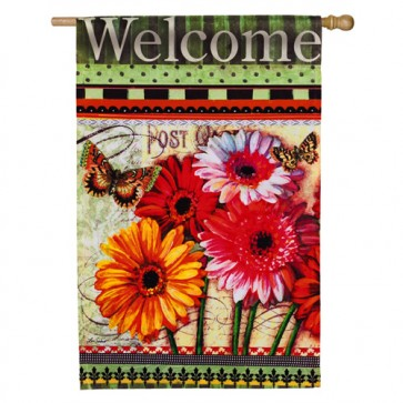 Floral Wishes Welcome House Flag