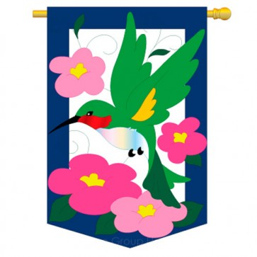 Flower Hummingbird House Flag