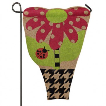 Flower Pot Burlap Garden Flag
