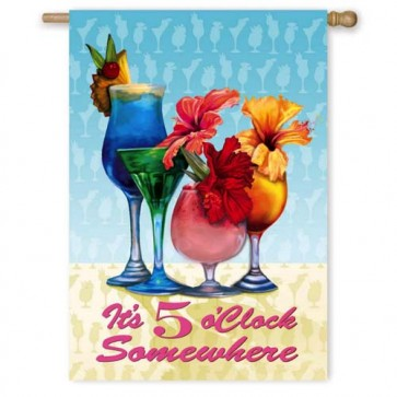 Flowery 5 O'Clock Somewhere House Flag