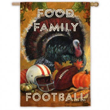 Food, Family, Football House Flag