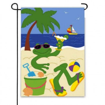 Frog on the Beach Garden Flag
