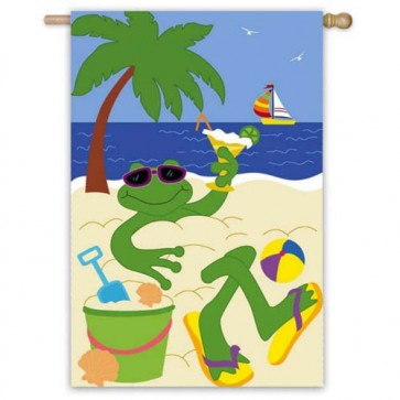 Frog on Beach House Flag