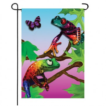 Friendly Frogs Garden Flag