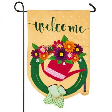 Gardening Welcome Linen Garden Flag