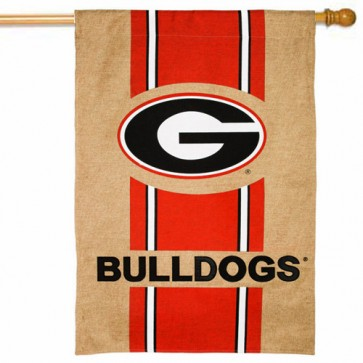 Georgia Bulldogs Burlap House Flag