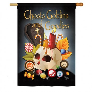 Ghosts, Goblins and Goodies Halloween House Flag