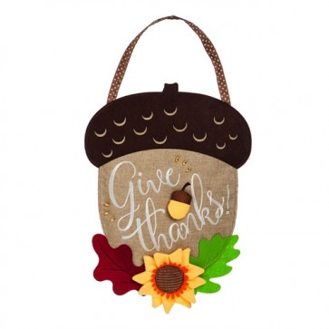 Give Thanks Acorn Burlap Door