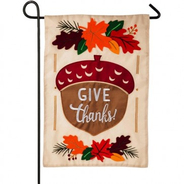 Give Thanks Acorn Happy Thanksgiving Garden Flag