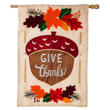 Give Thanks Acorn Happy Thanksgiving House Flag