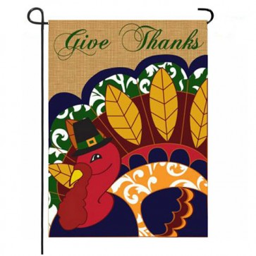 Give Thanks Thanksgiving Garden Flag