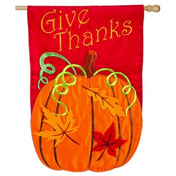Give Thanks Fall and Thanksgiving House flag