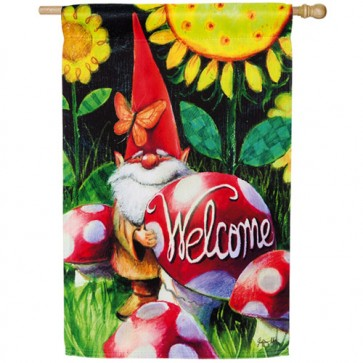 Gnome Welcome House Flag