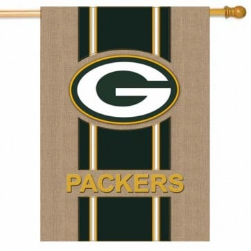 Green Bay Packers Burlap House Flag