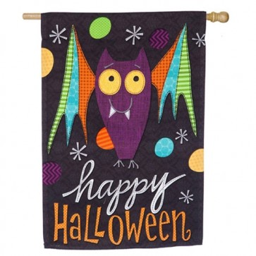 Halloween Bat, Fright this Way  Happy Halloween House Flag