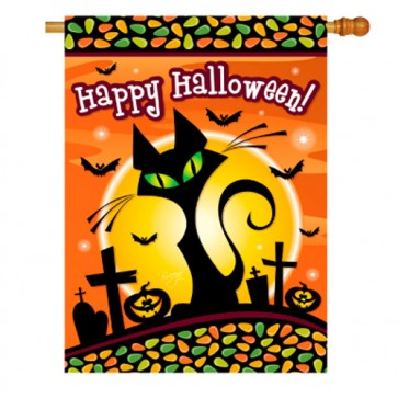 Halloween Black Cat House Flag