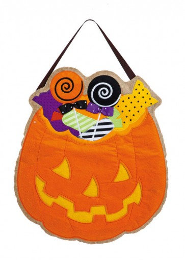 Halloween Candy Burlap Door Hanger