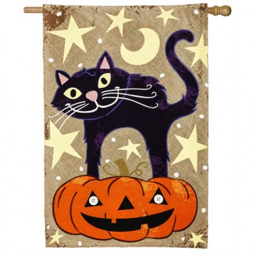 Halloween Cat Burlap House Flag