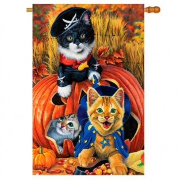 Halloween Kittens House Flag