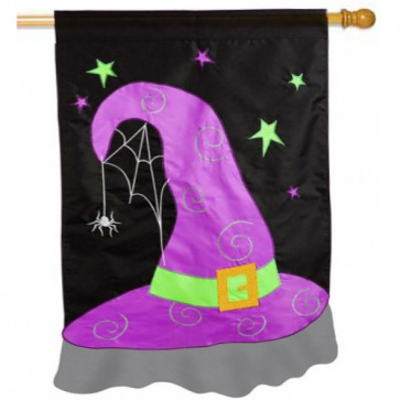 Halloween Witch Hat House Flag