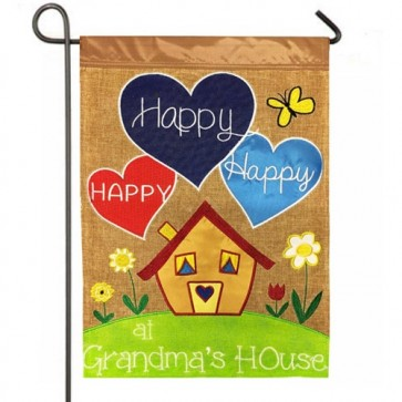 Happy at Grandmas House Burlap Garden Flag