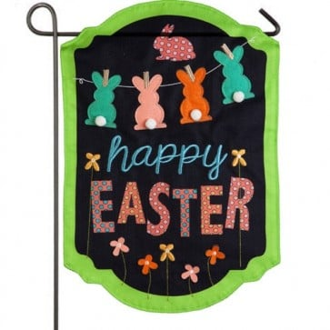 Happy Easter Chalkboard Burlap Garden Flag
