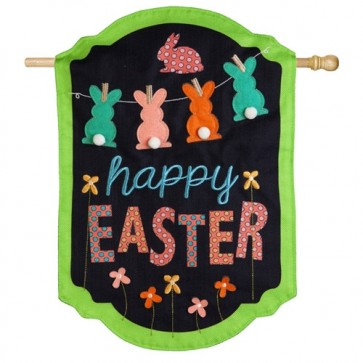 Happy Easter Chalkboard Burlap House Flag