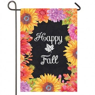 Happy Fall Floral Fall Garden Flag