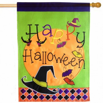 Happy Halloween Burlap House Flag