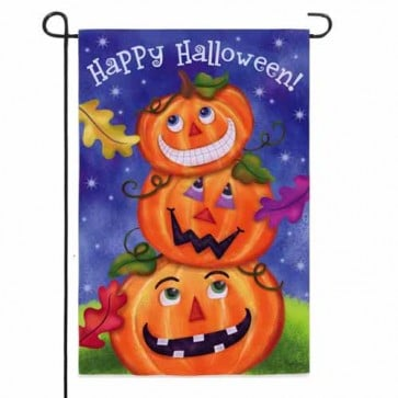 Happy Halloween Pumpkin Stack Garden Flag