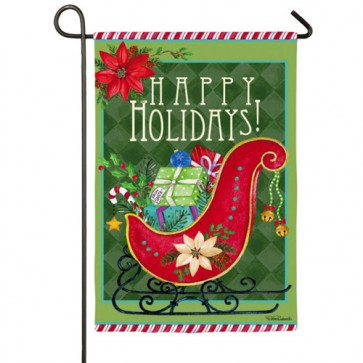 Happy Holiday Sled Garden Flag