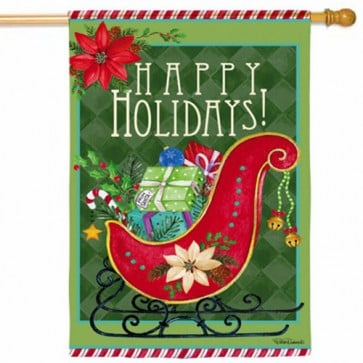 Happy Holiday Sled House Flag