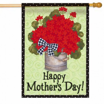 Happy Mothers Day Geraniums House Flag