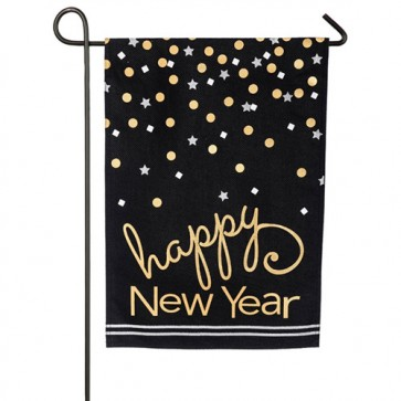 Happy New Year Burlap Winter Garden Flag