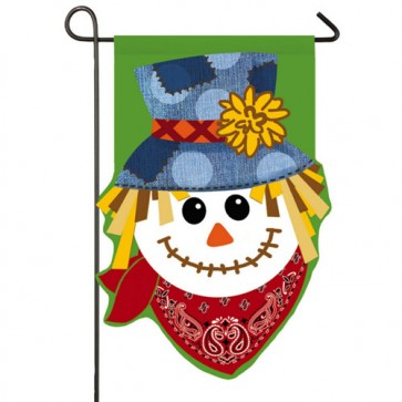 Happy Scarecrow Burlap Garden Flag