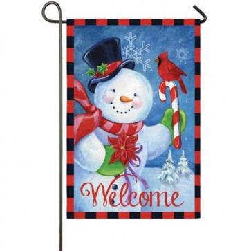 Happy Snowman Garden Flag