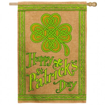 Happy St Patrick's Day Burlap House Flag