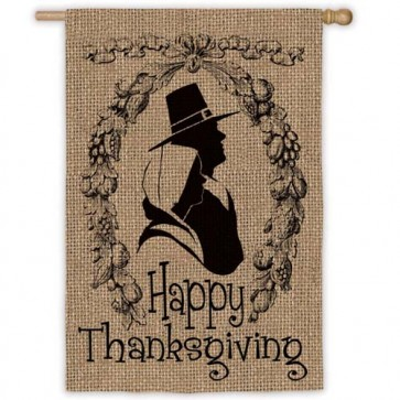Happy Thanksgiving House Flag (Burlap)