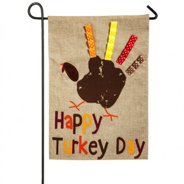Happy Turkey Day Burlap Garden Flag