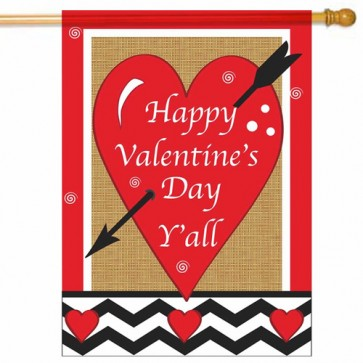 Happy Valentine's Day Y'all Burlap  Valentine's Day House flag