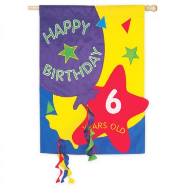 Happy Birthday House Flag  (Interchangeable Numbers)