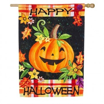 Happy Jack O Lantern House Flag