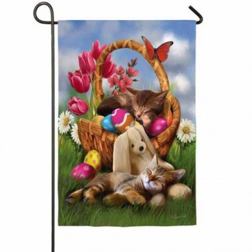 Hard Day with the Easter Bunny Garden Flag